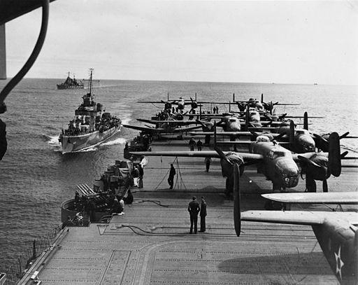 USS Hornet (CV-8) with USS Gwin (DD-433) during Doolittle Raid 1942.