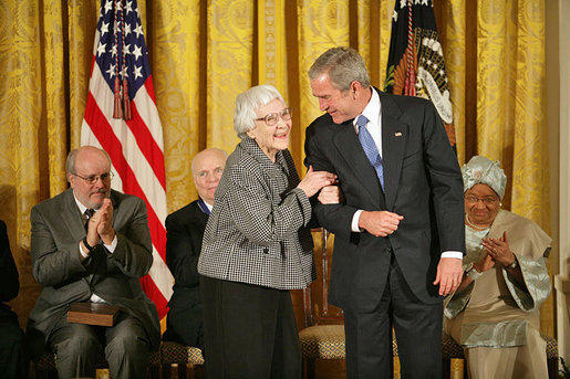 Harper Lee being awarded the Presidential Medal of Freedom, November 5, 2007.