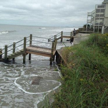Erosion caused by Hurricane Joaquin at North Myrtle Beach.