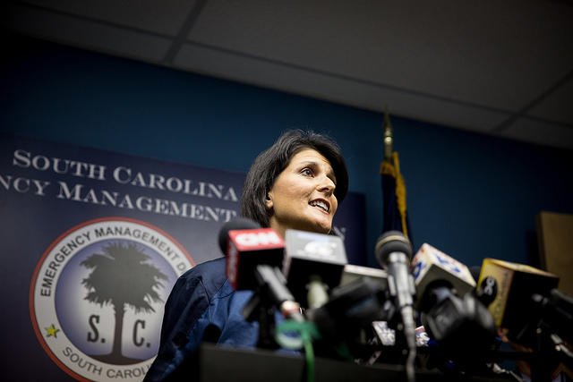 Governor Nikki Haley briefing the press at the SC Emergency Management Division, October 2, 2015.