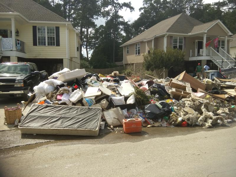 Debris from homes damaged in the October 2015 floods in South Carolina.