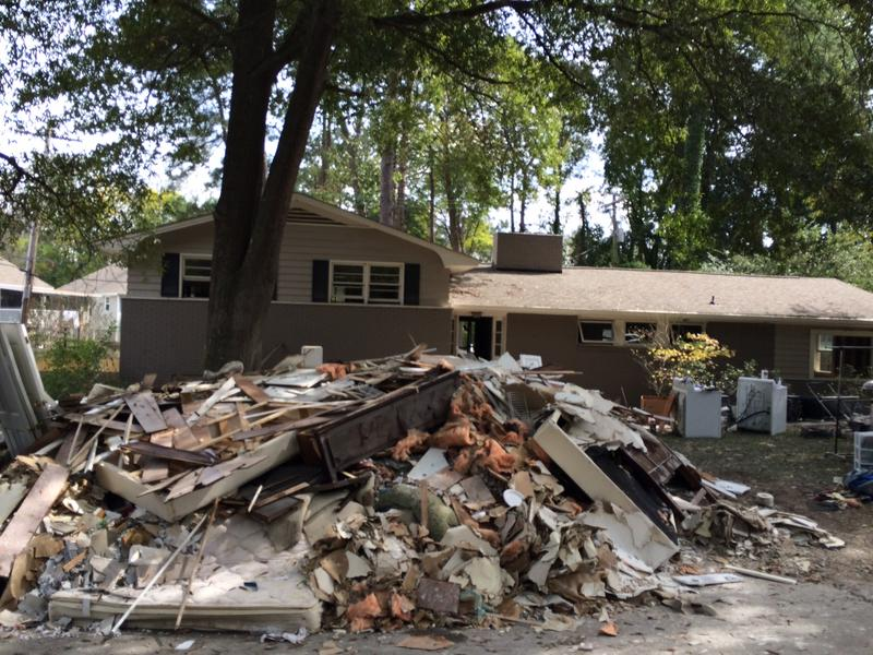 Debris removed from a flooded home in Columbia.