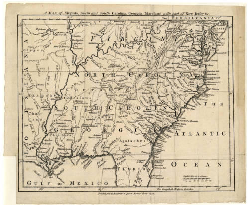 Early map of Virginia and the Carolinas