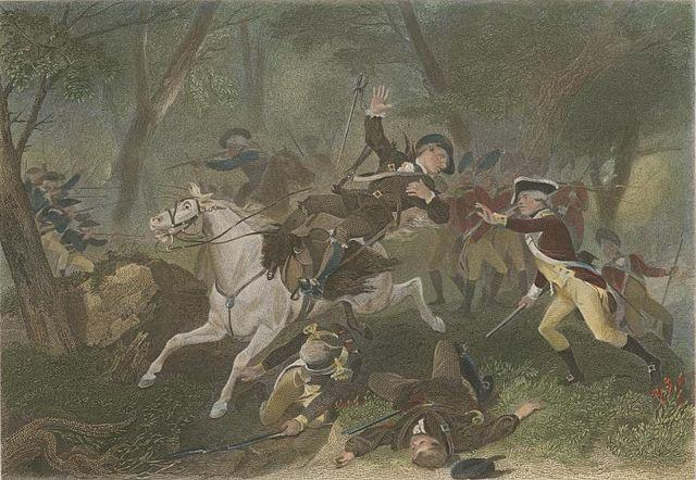 Engraving depicting the death of British Major Patrick Ferguson at the Battle of Kings Mountain during the American Revolutionary War, October 7, 1780.