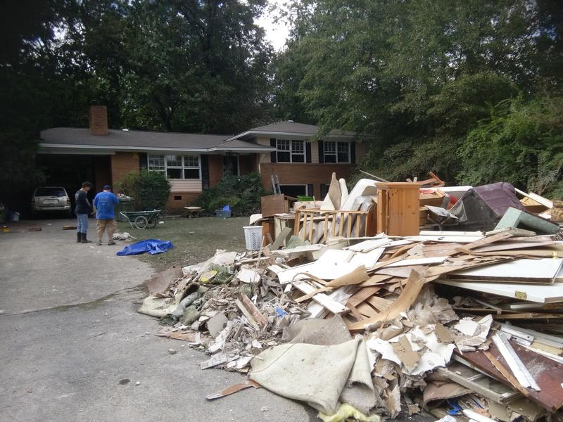 Debris outside resident Mike Parker's home in the Gills Creek neighborhood of Columbia, SC.