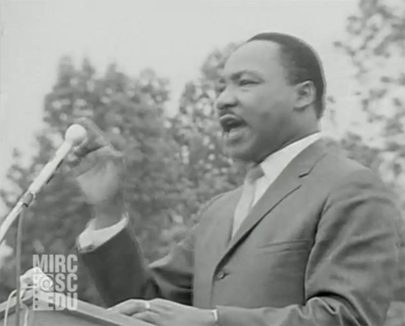 Dr. Martin Luther King, Jr., speaking in Kingstree, SC, May 8, 1966.