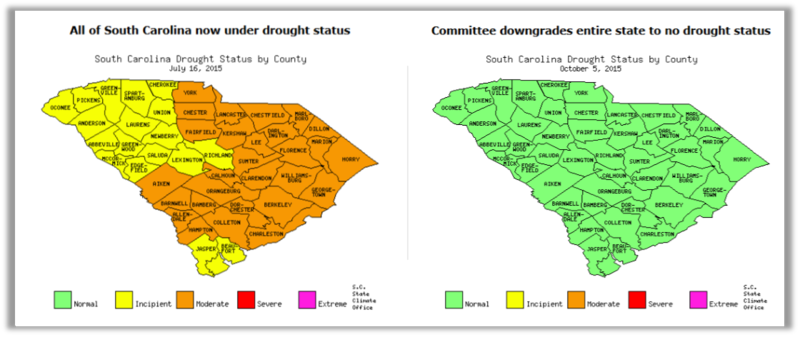 Maps from www.dnr.sc.gov show drought statuses for South Carolina in July of 2015 (28 counties were upgraded to moderate state of drought) and October 5, 2015 (hundreds of acres of farmland sit in waters left by heavy rains and flood).