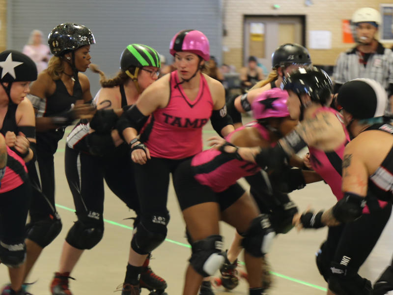 A roller derby match pits the Columbia Quade Squad All Stars against a team visiting from Tampa.