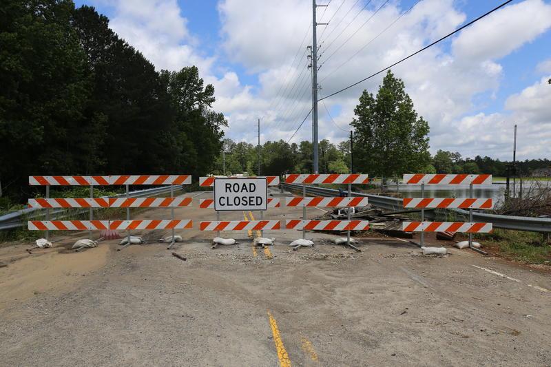 Barricades block portion of Wilson Blvd.