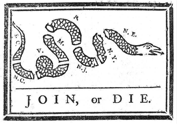 """Join or Die,"" by Benjamin Franklin, Pennsylvania Gazette (Philadelphia, PA), May 9, 1754."