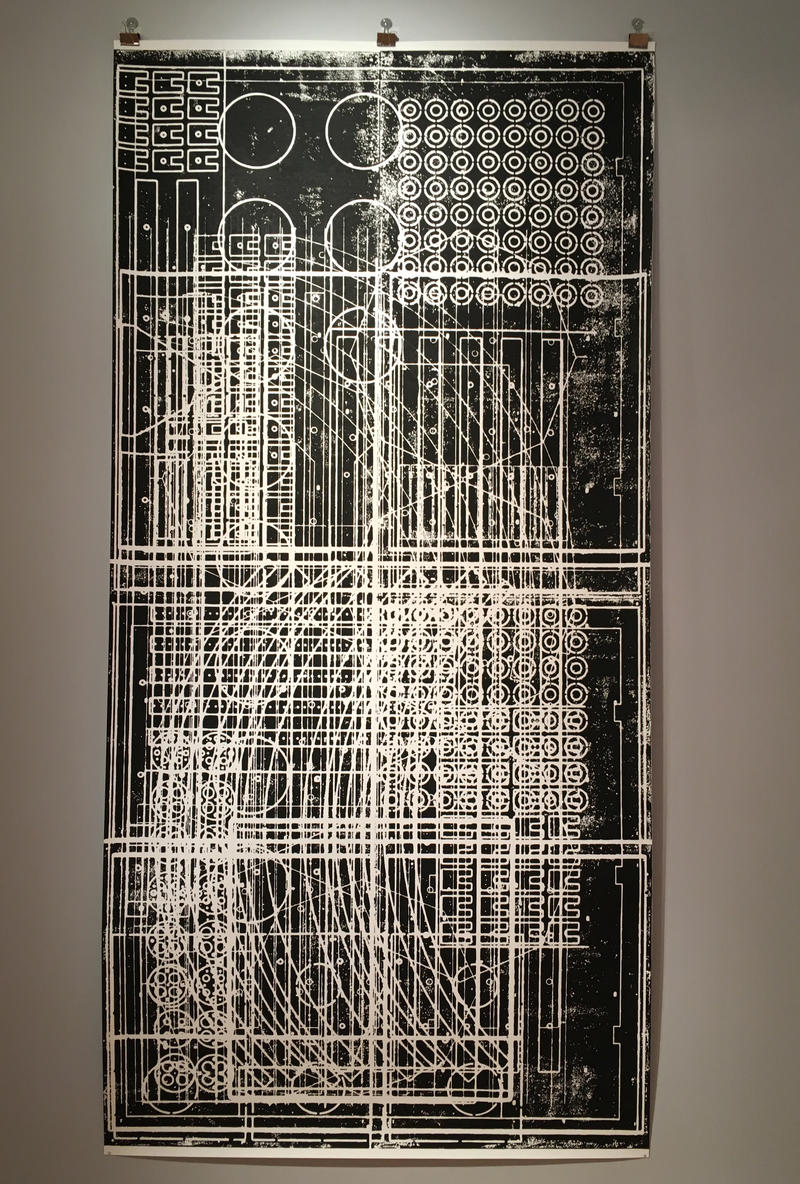 Redl's 5' x 10' Print inspired from kinetic sculptures and circuitry.