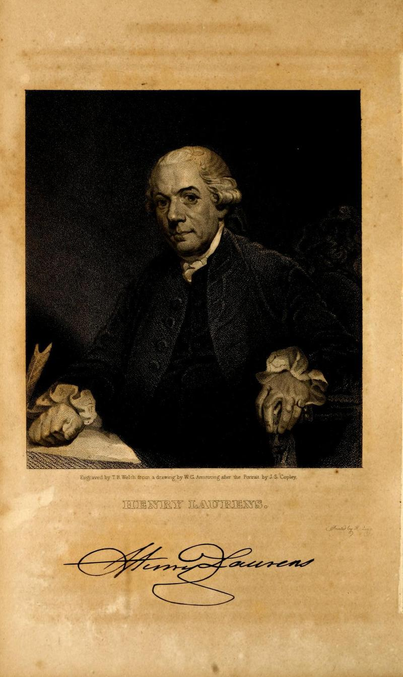 Portrait of Henry Laurens, engraved from a drawing by W. C. Armstrong after the portrait by John Singleton Copley.