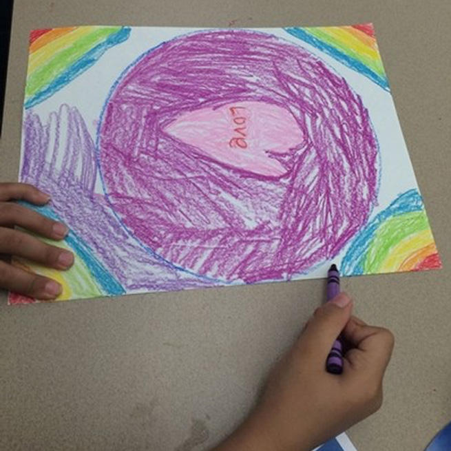 A mandala drawn by a participant in the Hearts Mend Hearts art therapy workshops that took place at the Charleston County Library.