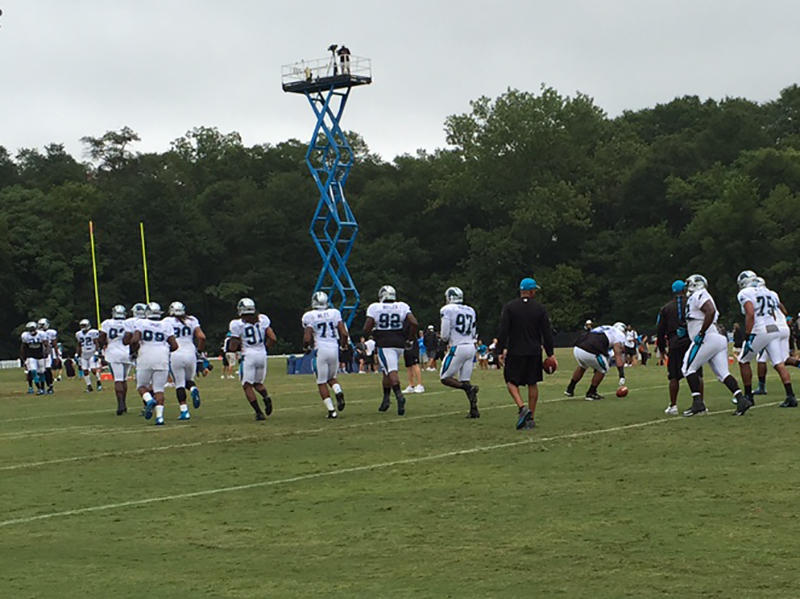 The Carolina Panthers practice at Wofford College.