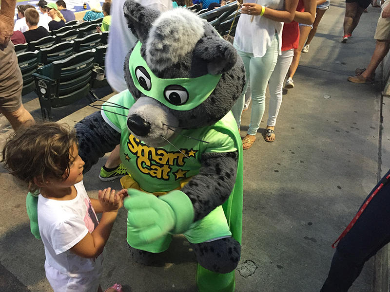 ETV's Smart Cat greets a young visitor at SC Public Radio Night at the Charleston Riverdogs baseball game.