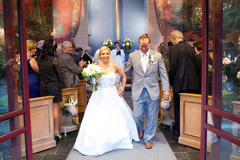 Blair and Hal Lindsey exiting the chapel of the Diocesan House at historic Trinity Episcopal Church just after being married on October 3rd, 2015.