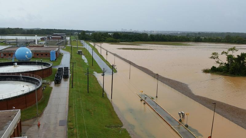 The view just outside of the Columbia Metro Wastewater Treatment Plant during October's flood.