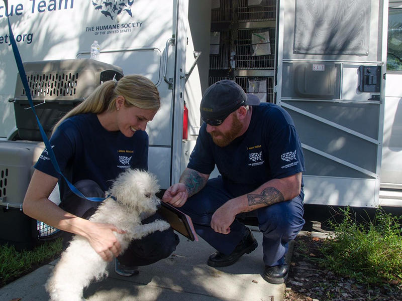 State Director of the Humane Society Kim Kelly with a member of their Animal Rescue Team and one of the dogs relocated from Charleston Animal Society before flooding began,