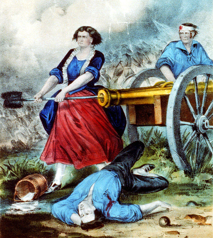 Molly Pitcher, long one of the few images an American Woman active in the Revolution, is likely a composite image inspired by the actions of several real women.