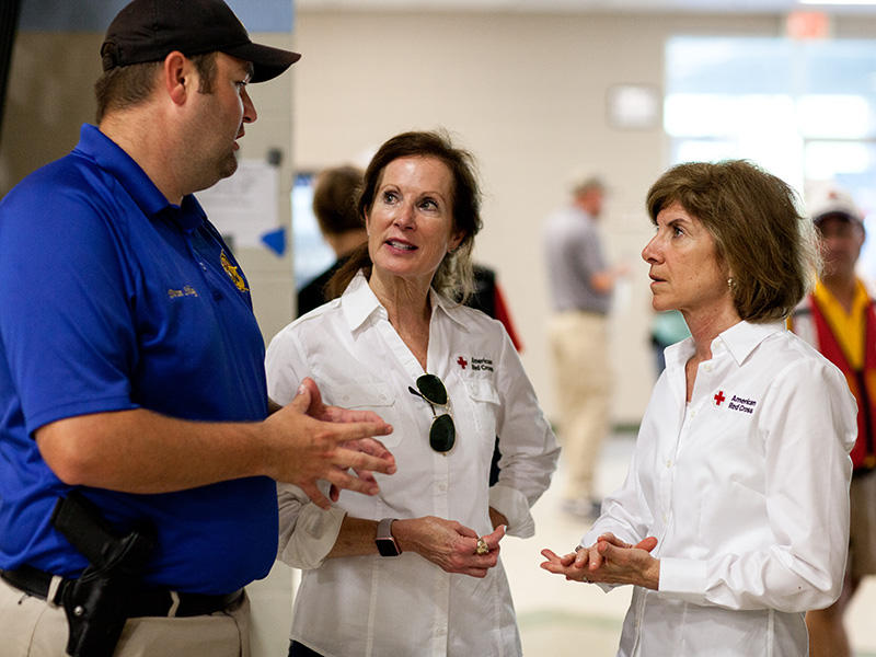 Louise Welch-Williams (center), the Regional CEO for the Red Cross in South Carolina at work in Southern Louisiana. Welch-Williams was one of more than 50 Red Crossers who travelled to Louisiana to help after the August floods.