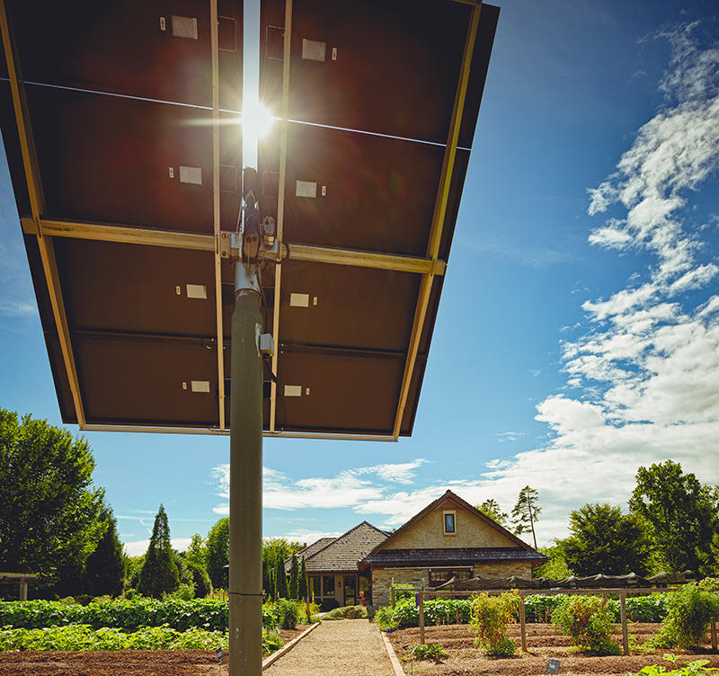 A solar array at the Shi Center for Sustainability at Furman University.
