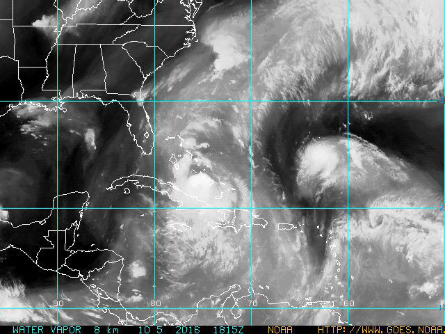 Satellite image from the NOAA Geostationary Satellite Survey, Wednesday afternoon, Oct 5. 2016.
