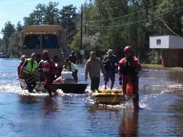 Some Nichols residents were evacuated by boats.