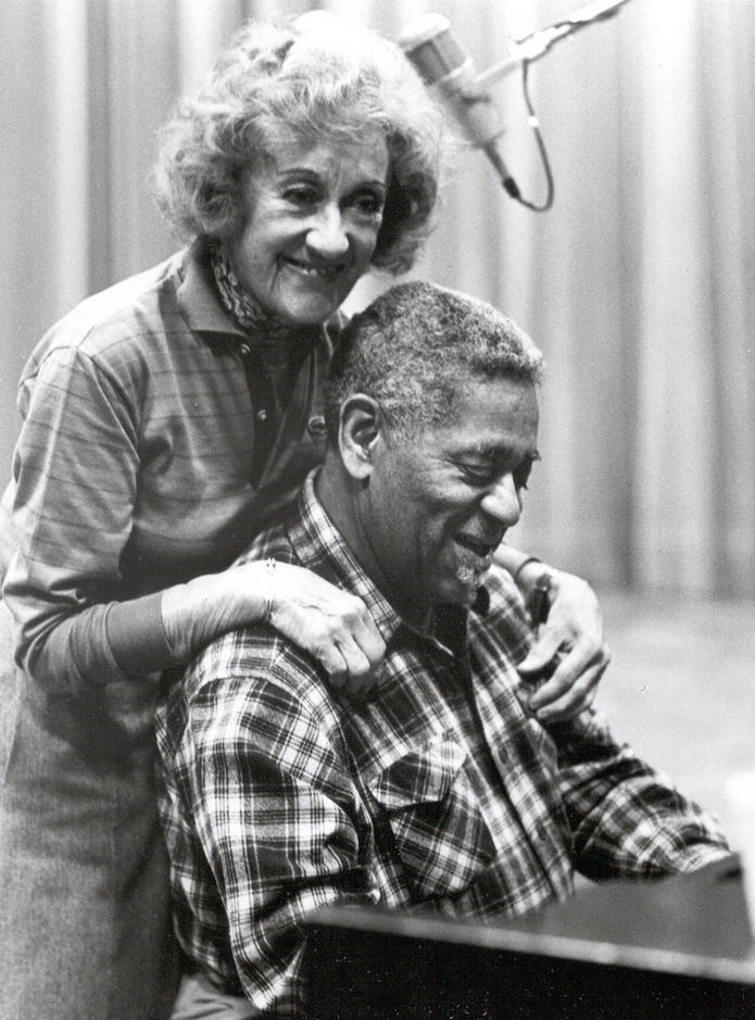 "Marian McPartland and and Dizzy Gillespie during a recording session for ""Marian McPartland's Piano Jazz."""
