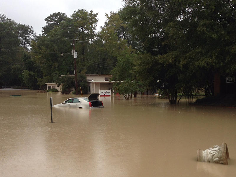 Flooding in Forest Acres, near Columbia, SC, on Oct 4, 2015.