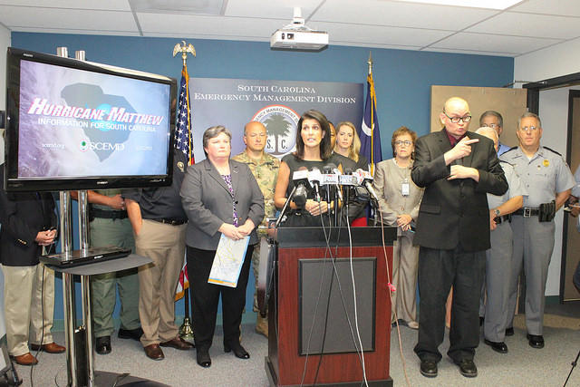 Gov. Haley speaking from the Emergency Operations Center. The governor will address the public Sunday, October 9 at 10AM.