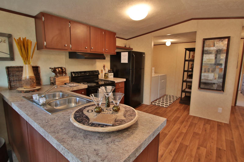 Kitchen area inside new manufactured home