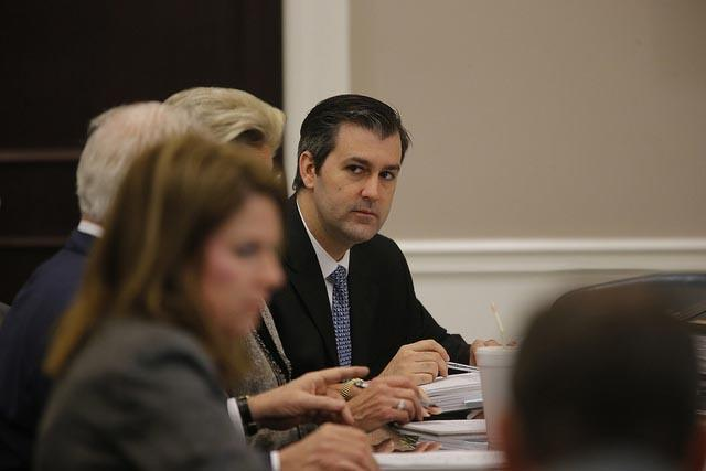 Michael Slager at the Defense's table during his trial.