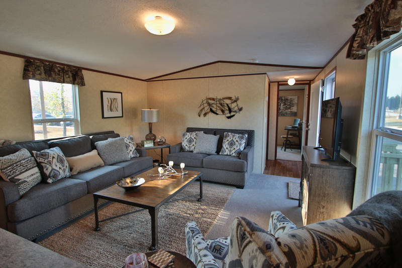 Living area inside new manufactured home