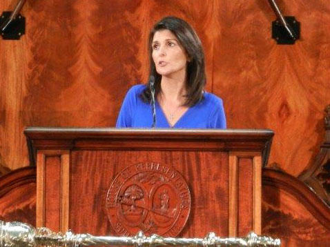 Gov. Nikki Haley giving her State of the State Address, Wednesday night.