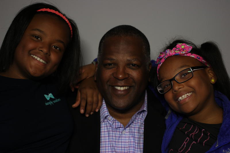 Columbia Mayor Steve Benjamin with daughters Bethany and Jordan Grace