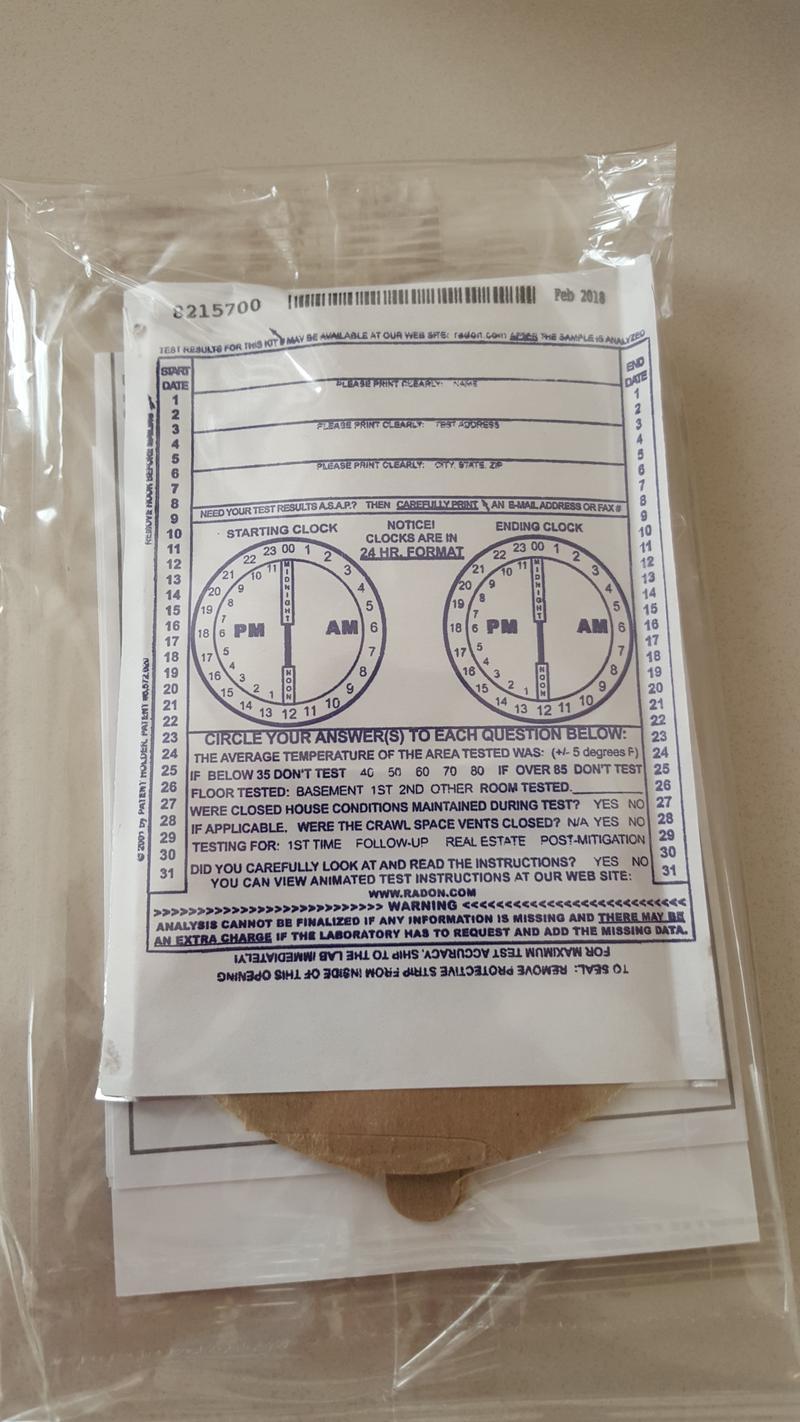 A free radon test kit