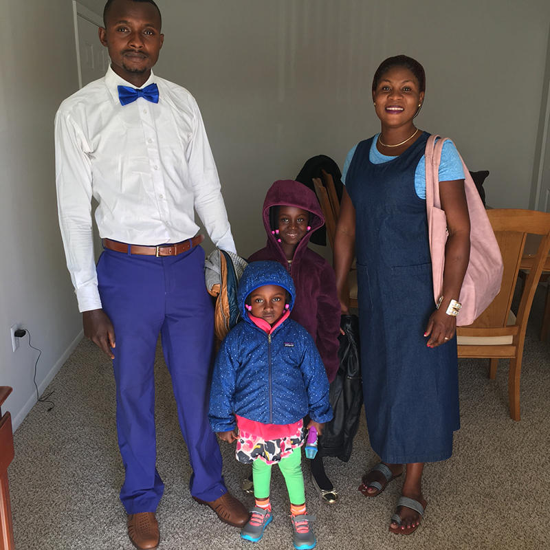 The Mufuta family arrived in Charleston one week ago, less than 24 hours before the temporary refugee ban. From left to right: 30-year-old Bakemayi Mufuta, 3-year-old Georgina Mufuta, 6-year-old Promise Mufuta, and 23-year-old Rose Mufuta.