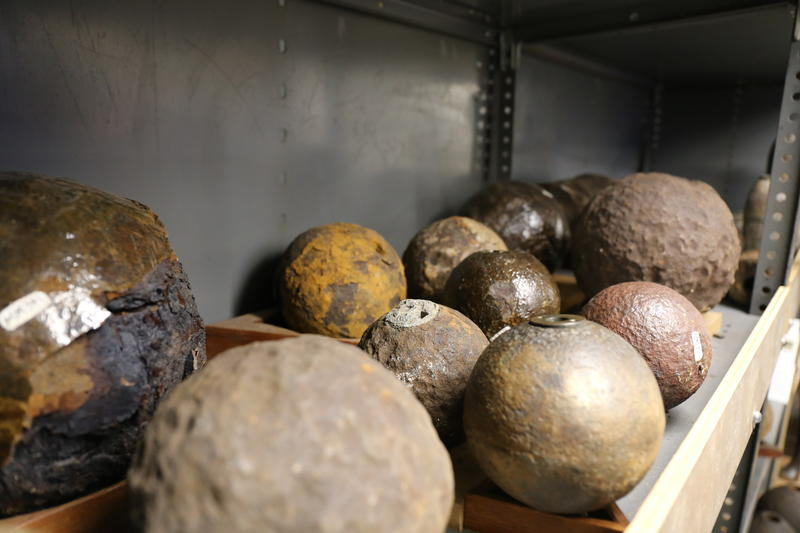 A row of recovered cannonballs in the Charleston Museum