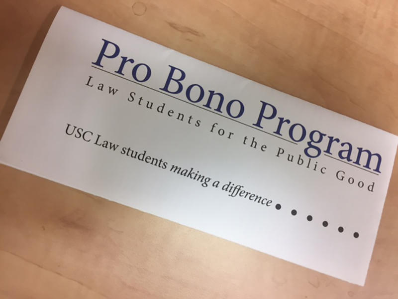 USC Law School's Pro Bono program provides student volunteers for legal services throughout South Carolina.