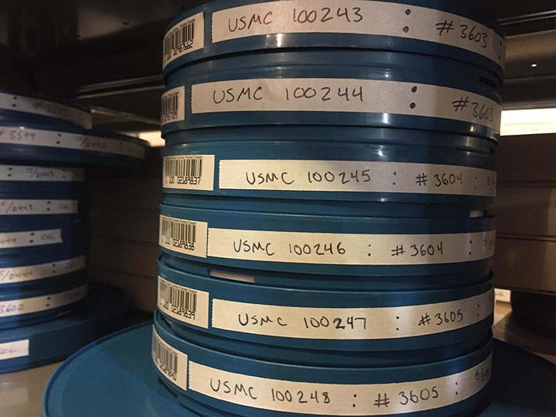Cataloged cans of  Marine Corps film.  Most of the film received thus far by USC can be seen online at mirc.sc.edu.
