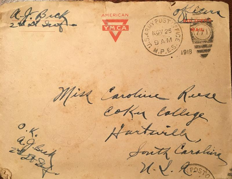 Weathered envelope to Caroline Reese, postmarked November 25, 1918.