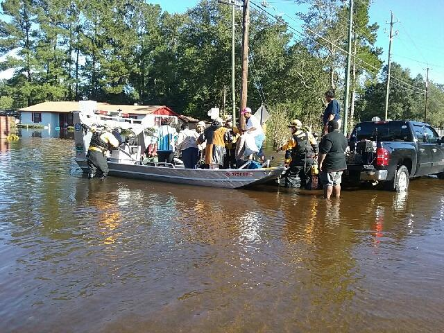 Residents in Nichols, SC being rescued after Hurricane Matthew.