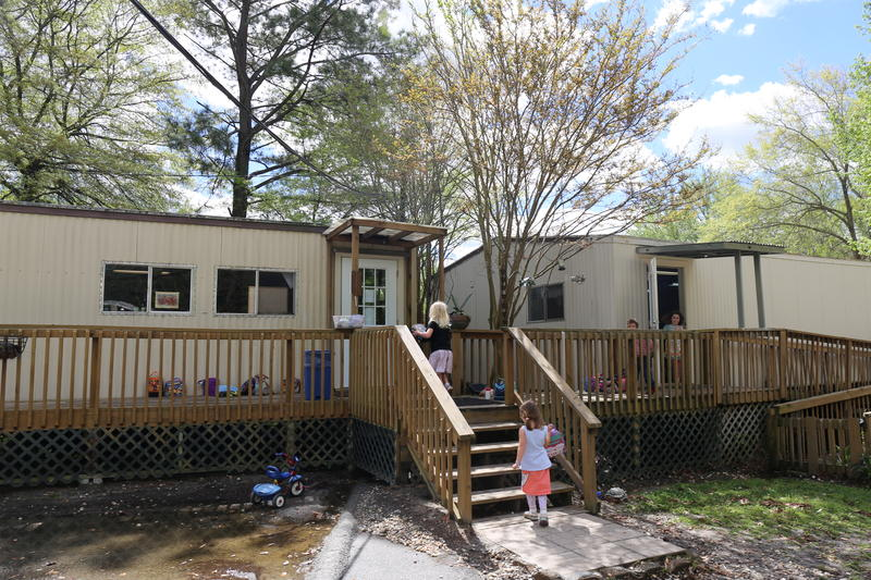 Two portable buildings, previously used as office space, are being used as classrooms for Harmony School's preschool and kindergarten program.