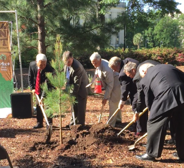Officials with the state's Forestry Commission, Forestry Association, Commerce Dept. and other agencies planted a Loblolly pine tree on the eastern grounds of the state house.