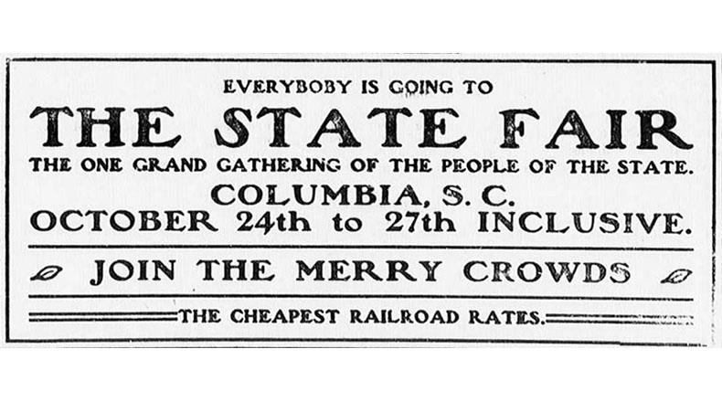 An advertisement for the fair appears in the Keowee Courier (Pickens Court House, S.C.), October 18, 1905.