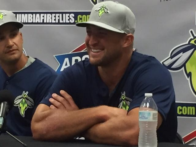 Tim Tebow at a Columbia Fireflies press conference.