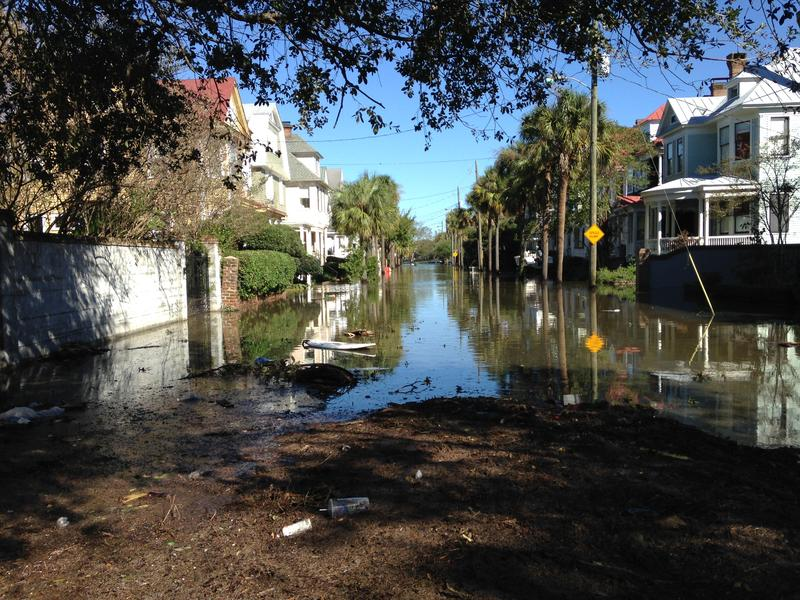 Streets in downtown Charleston near the Battery were flooded and strewn with debris after Hurricane Matthew.