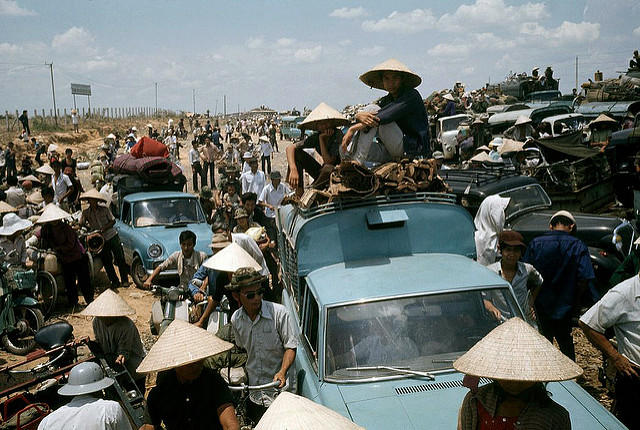 South Vietnam, 1975, refugees during the last days of the Vietnam War.