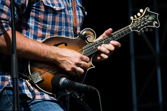 The mandolin is a central of many Bluegrass groups. (Mandolin player with the Jeff Austin Band, on stage at the 80/35 music festival in Des Moines, July, 2016.)