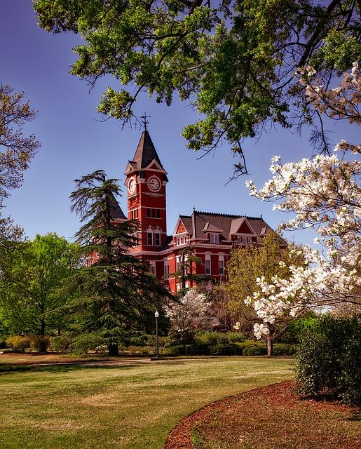photo of an old college campus in spring